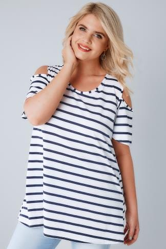 Jersey Tops Navy & White Stripe Cold Shoulder Jersey Top 170235