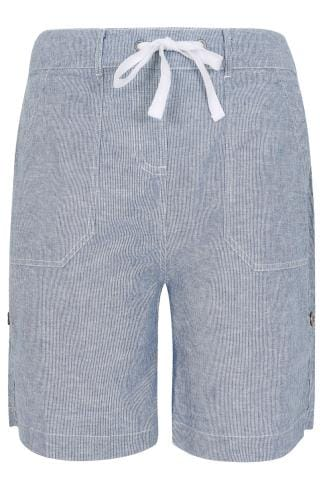 Navy & White Stripe Cotton Linen Mix Pull On Roll Up Shorts
