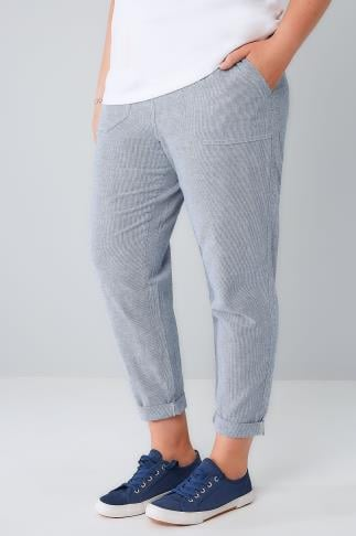 Cool Cotton Trousers Navy & White Stripe Cotton Linen Mix Pull On Tapered Roll Up Trousers 144012