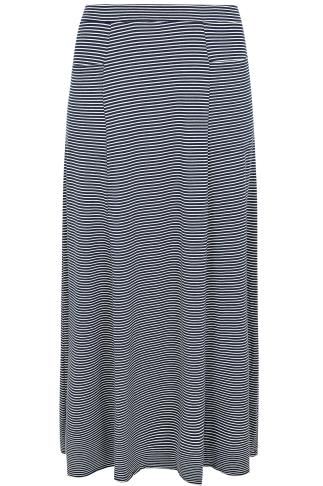 Navy & White Stripe Maxi Skirt With Pockets