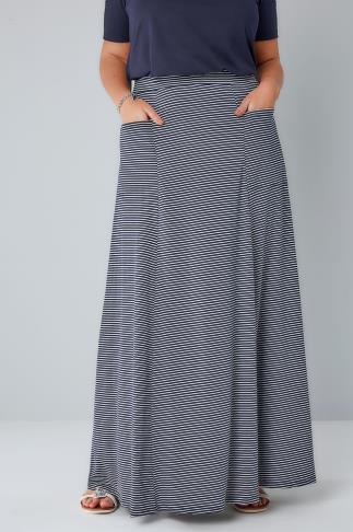 Maxi Skirts Navy & White Stripe Maxi Skirt With Pockets 156198