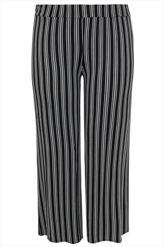 Black & White Stripe Print Wide Leg Trousers