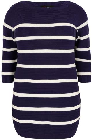 Navy & White Stripe Ribbed Knitted Longline Jumper