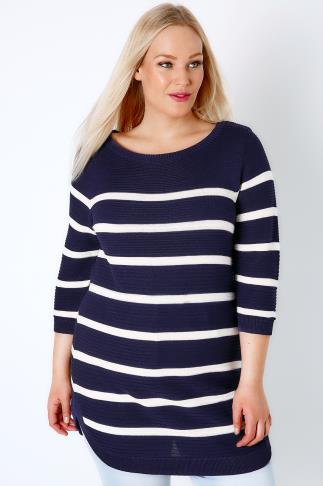 Jumpers Navy & White Stripe Ribbed Knitted Longline Jumper 124028