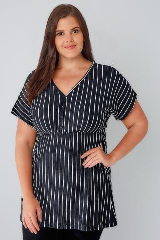 Navy & White Stripe Textured Longline Top With Button Detail 170179
