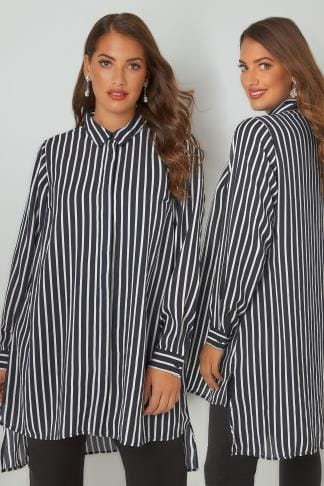 Blouses YOURS LONDON Navy & White Striped Longline Shirt With Step Hem 156222