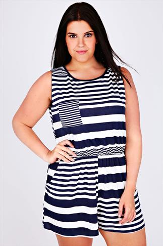 Navy & White Striped Playsuit