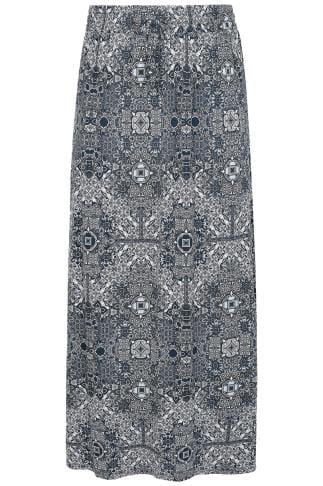 Navy & White Tapestry Print Pull On Maxi Skirt With Side Splits