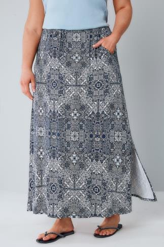 Maxi Skirts Navy & White Tapestry Print Pull On Maxi Skirt 160020