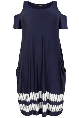 Navy & White Tie-Dyed Drape Pocket Dress With Cold Shoulders