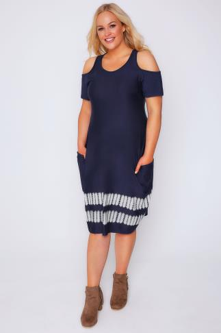Midi Dresses Navy & White Tie-Dyed Drape Pocket Dress With Cold Shoulders 102669