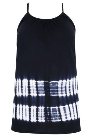 Navy & White Tie Dye Swing Vest With Plaited Straps