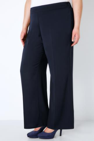 Wide Leg & Palazzo Trousers Navy Wide Leg Smart Trousers With Elasticated Waist 140000