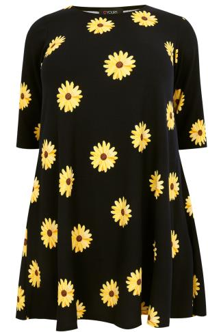 Navy & Yellow Sunflower Print Textured Swing Dress With Half Sleeves