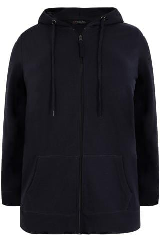 Navy Zip Through Hoodie With Pockets