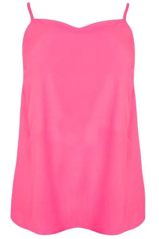 Neon Pink Woven Cami Top