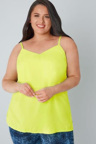 Neon Yellow Woven Cami Top 130115