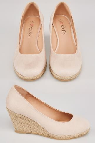 Nude COMFORT INSOLE Closed Toe Espadrille Wedges In TRUE EEE Fit