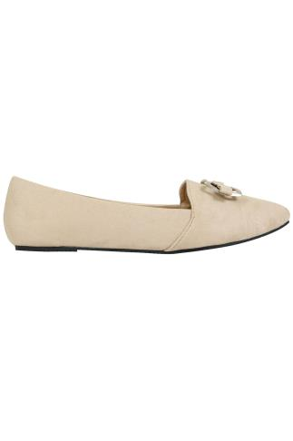 Nude COMFORT INSOLE Faux Suede Ballerina Pump With Metal Bow Detail In E Fit