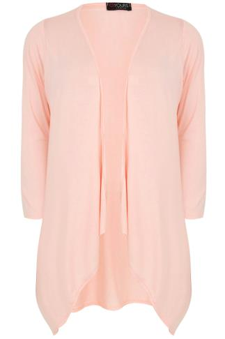 Nude Pink Edge to Edge Waterfall Jersey Cardigan