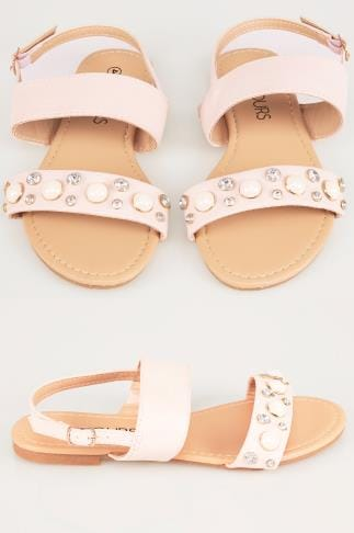 Wide Fit Flat Shoes Nude Double Strap Sandals With Pearl Trim In TRUE EEE Fit 154026