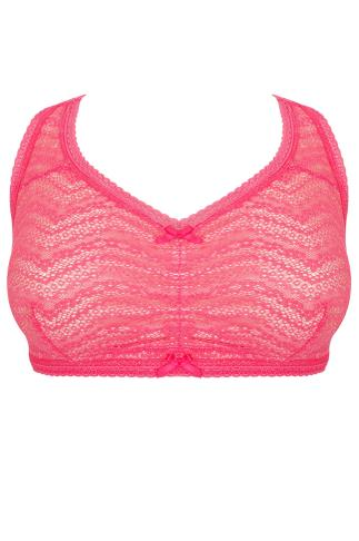 Nude & Hot Pink All Over Lace Racer Back Bralette