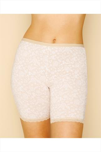 Nude Lace Print Thigh Smoothers With Lace Hem 056104
