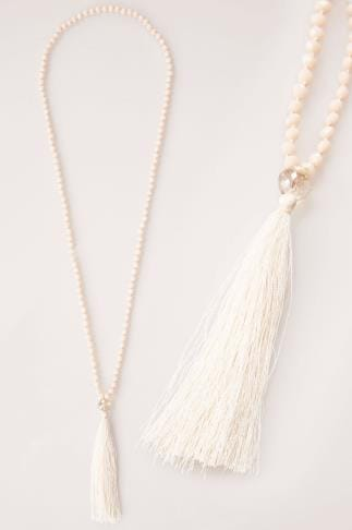 Necklaces Nude Long Bead Necklace With Tassel 152125