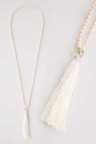 Nude Long Bead Necklace With Tassel