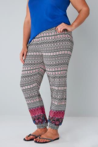 Harem Nude & Multi Aztec Print Harem Trousers With Elasticated Waist & Cuffs 142038