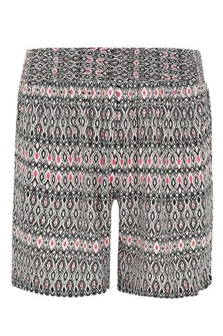 Nude & Multi Aztec Print Shorts With Ruched Waist