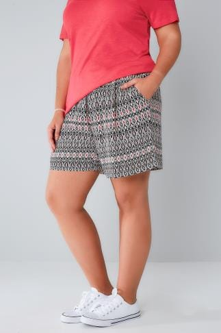 Fashion Shorts Nude & Multi Aztec Print Shorts With Ruched Waist 144035