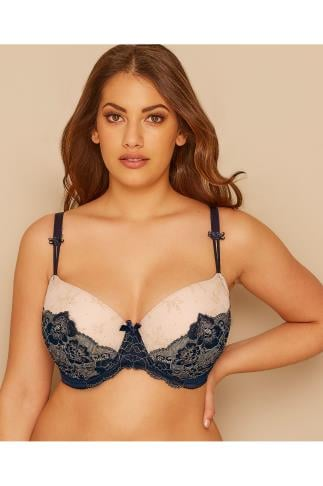 Padded Bras Nude & Navy Lace Illusion Moulded Bra 146056