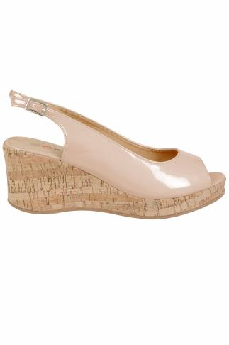 Nude Patent Peep Toe Cork Wedge Sandal In A EEE Fit
