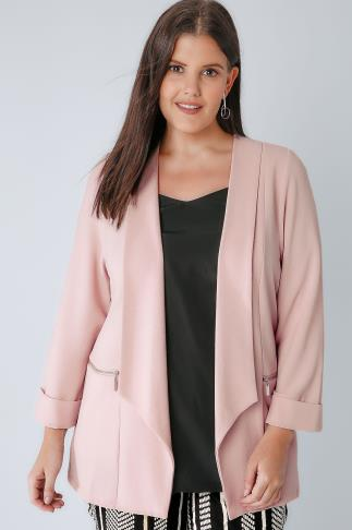Blazers Nude Pink Bubble Crepe Blazer Jacket With Zip Pockets 122002