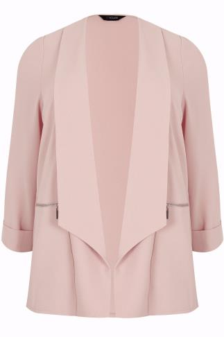 Nude Pink Bubble Crepe Blazer Jacket With Zip Pockets