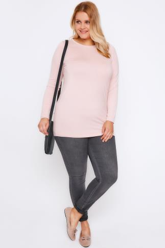 Jersey Tops Nude Pink Long Sleeve Soft Touch Jersey Top 102694