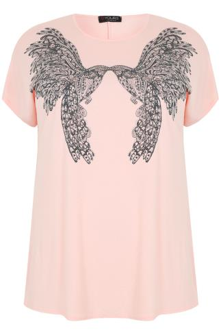 Nude Pink Twin Bird Print Embellished T-Shirt