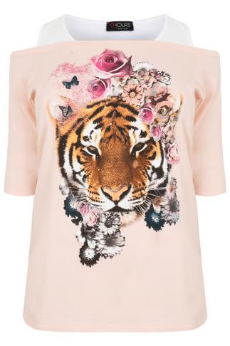 Nude Pink & White Floral Tiger Printed 2 in 1 Bardot Top