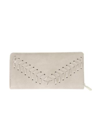 Nude Zip Around Purse With Herringbone Stitch Detail 152111