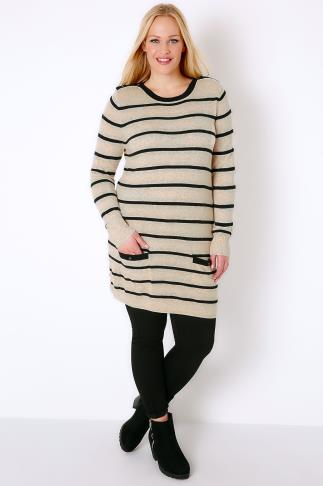 Oatmeal & Black Stripe Tunic Jumper Dress With Pockets 101442