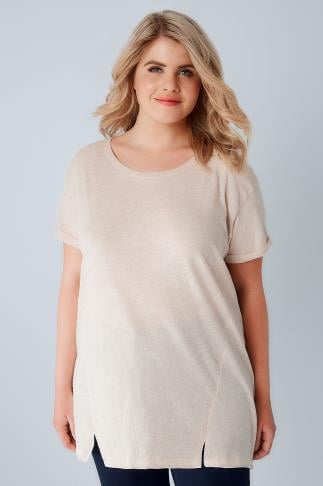 Basic Oatmeal Boyfriend T-Shirt With Front Split Detail 132080
