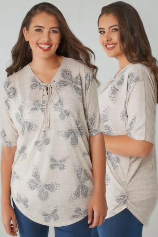 Longline Tops Oatmeal Butterfly Print Lace Up Neck Top With Ruched Sides 132352