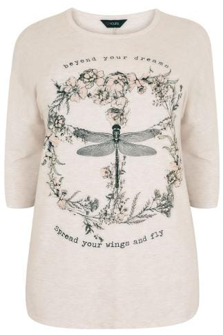 Oatmeal Dragonfly Slogan Print Jersey Sweat Top 126019