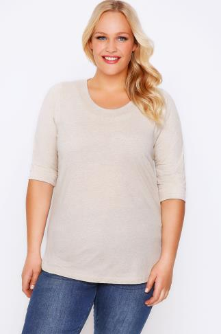 Oatmeal Marl Band Scoop Neckline T-Shirt With 3/4 Sleeves