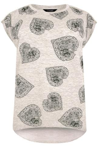 Oatmeal Paisley Heart Print Fine Knit Top With Curved Hem & Zip Shoulders
