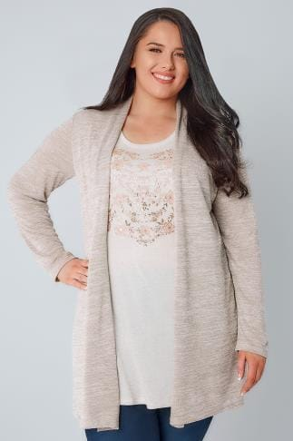 2 In 1 Oatmeal & Rose Gold 2 In 1 Fine Knit Cardigan & Floral Print Top 132208