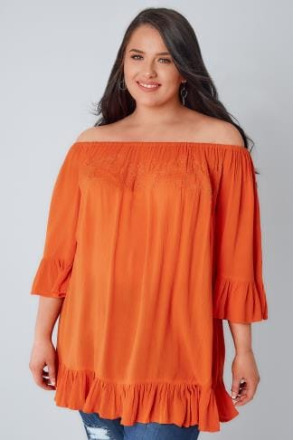 Gypsy Orange Beaded Gypsy Top With Flute Sleeves 130096