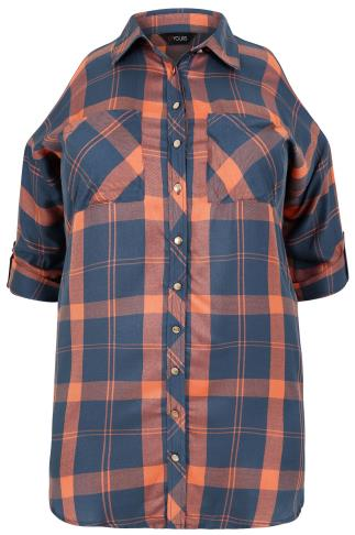 Orange & Blue Checked Shirt With Cold Shoulder Cut Outs