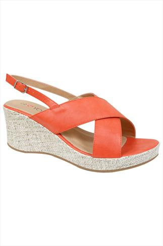 Orange Cross Over Wedge Sandal In EEE Fit